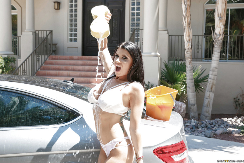 four car washing hotties service one big dicked guy outdoors  286079