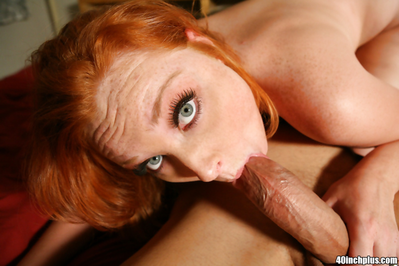 Awesome blowjob done by a skilled redhead before a hardcore anal