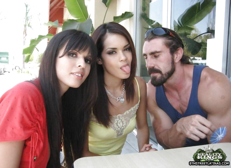 Threesome fuck with two Latina amateurs and their common friend
