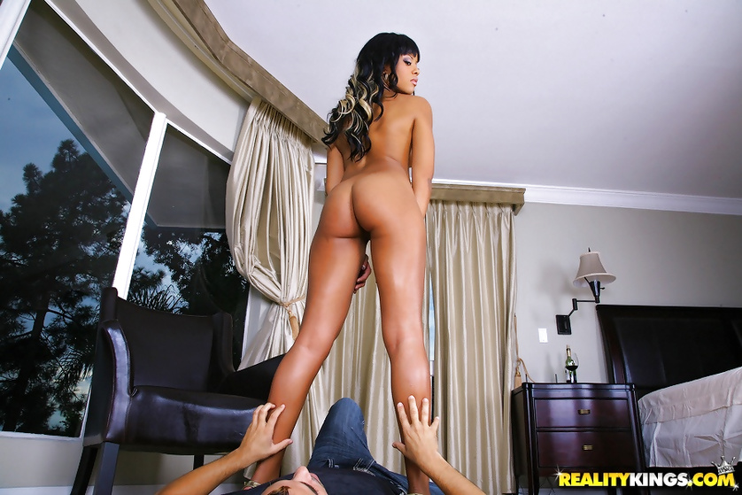 Tall babe is riding her lover's cock with pleasure