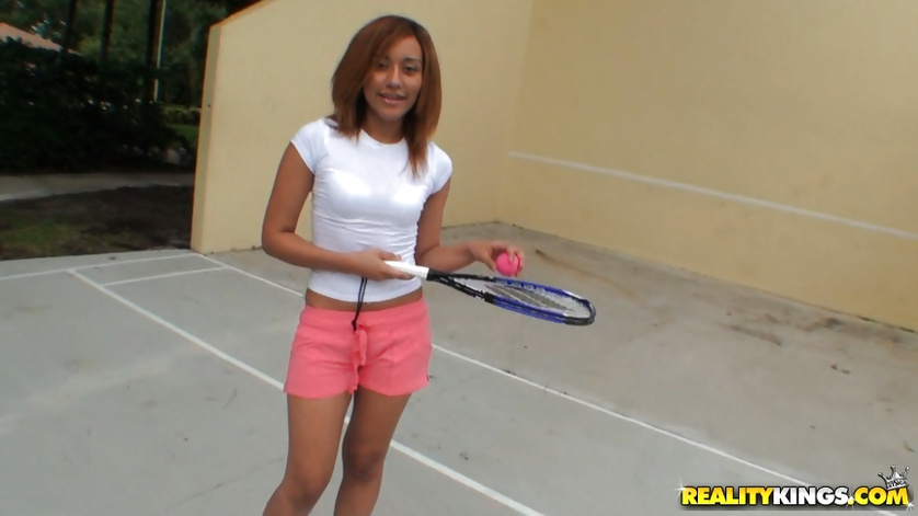 Sexy tennis player is sucking huge cock outdoor
