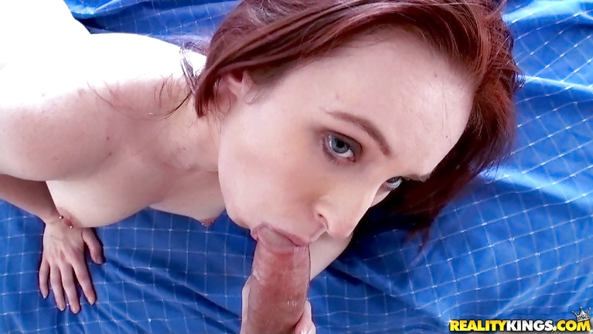 Skinny ginger babe is enjoying awesome sex