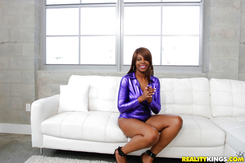 Lovely madam in purple clothes can give you some fuck lessons
