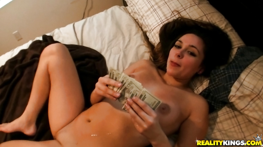 Young chick loves flashing her tits and fucking with big guys