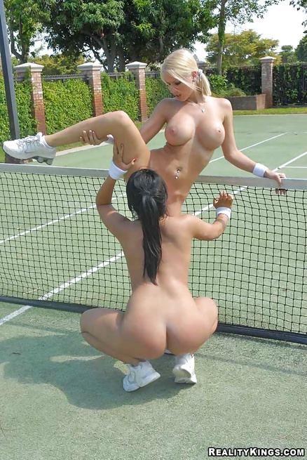 Sexy sluts are playing tennis and enjoying wild sex