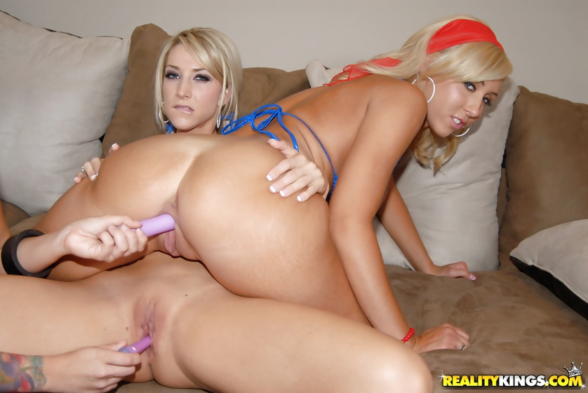 Tender blondes are having threesome and using purple dildo