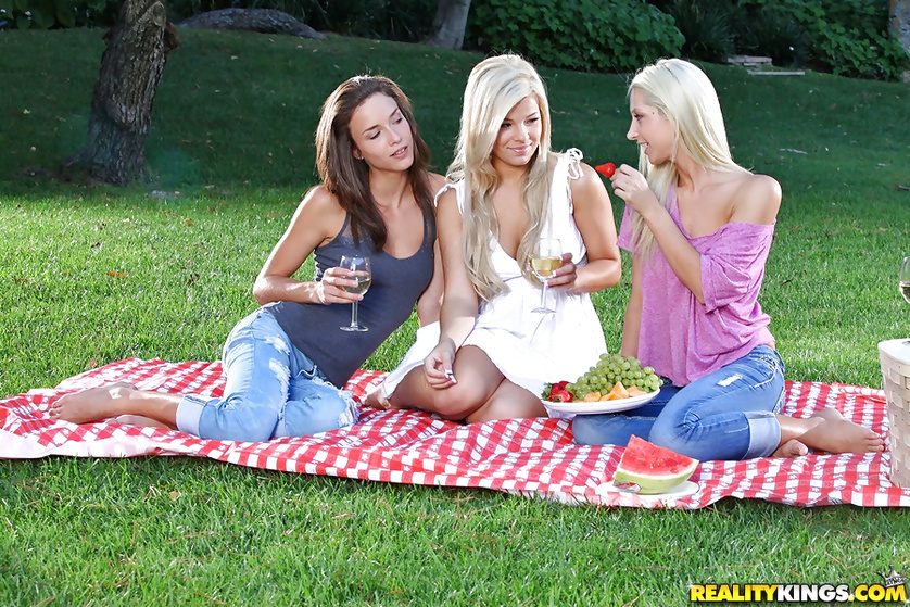 Three lovely models are laying on the grass and fucking