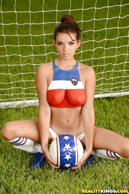 Sexy football babes are enjoying passionate sex
