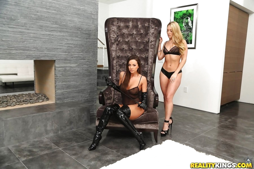 Luxurious mistress is fucking wildly with her gentle slave