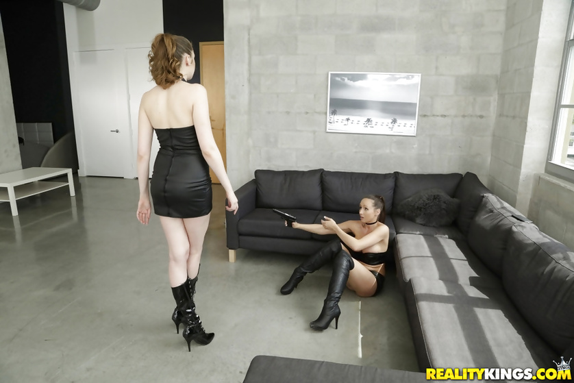 Skinny lesbians in black boots are enjoying wild sex