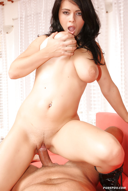 Big-tittied brunette in red hat gets penetrated hard