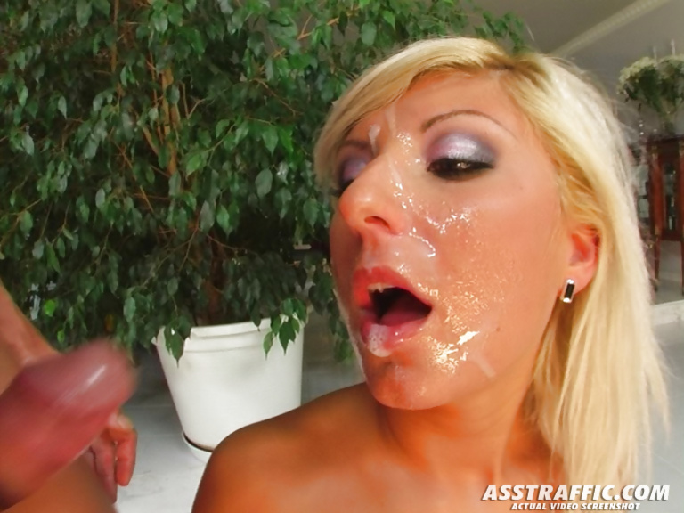 Juicy blonde is playing with long cocks and red sex toy