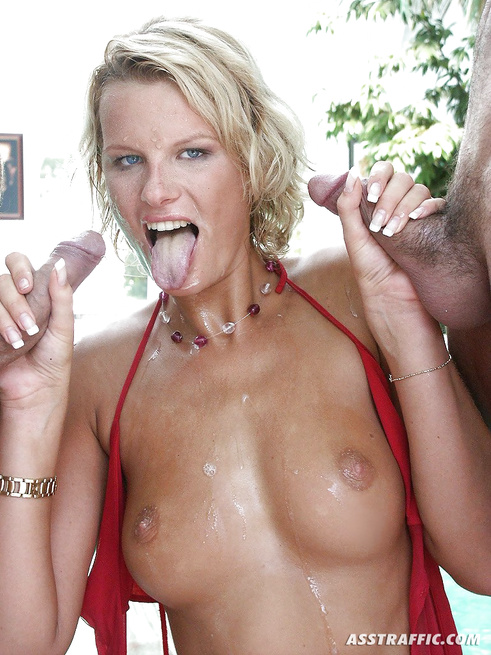 Tender blonde is touching herself and satisfying two men