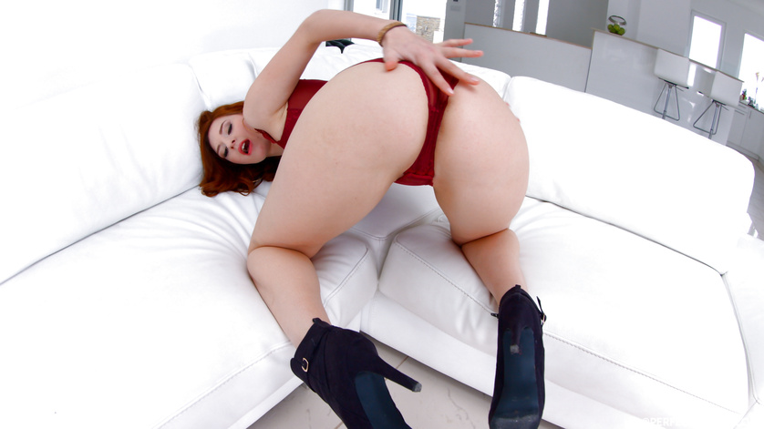 Red bodysuit redhead with long legs gets her dose of anal penetration