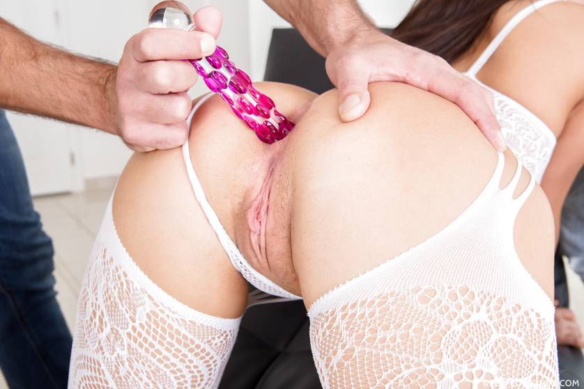 Dirty girl in white stockings is getting punished