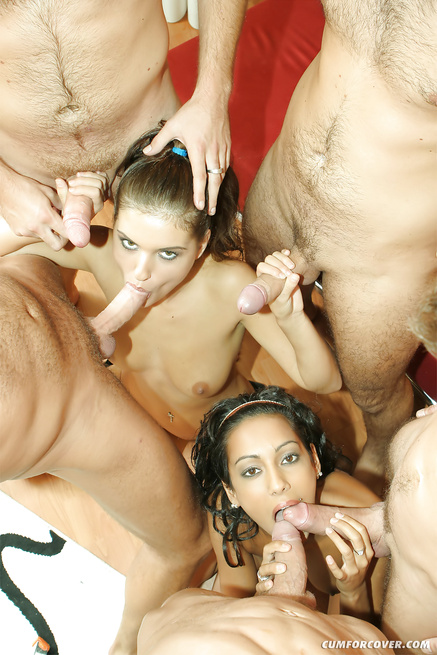 Two brunettes are giving blowjob to five big guys