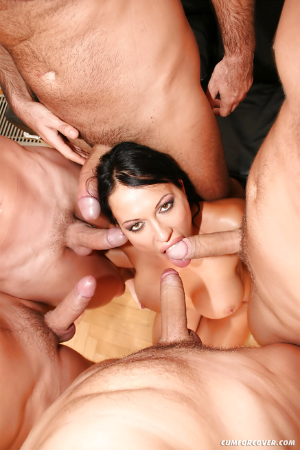 Brunette is masturbating and sucking many cocks
