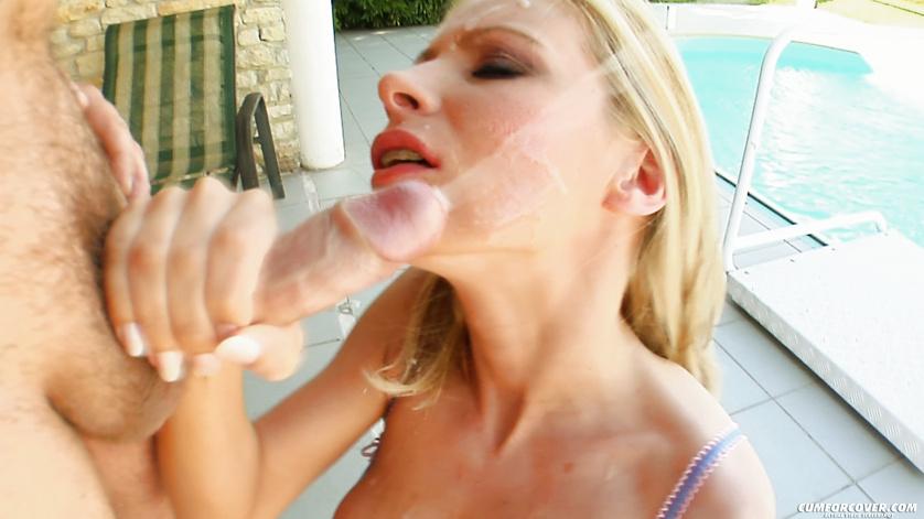 Tender blonde loves sucking many cocks outdoor