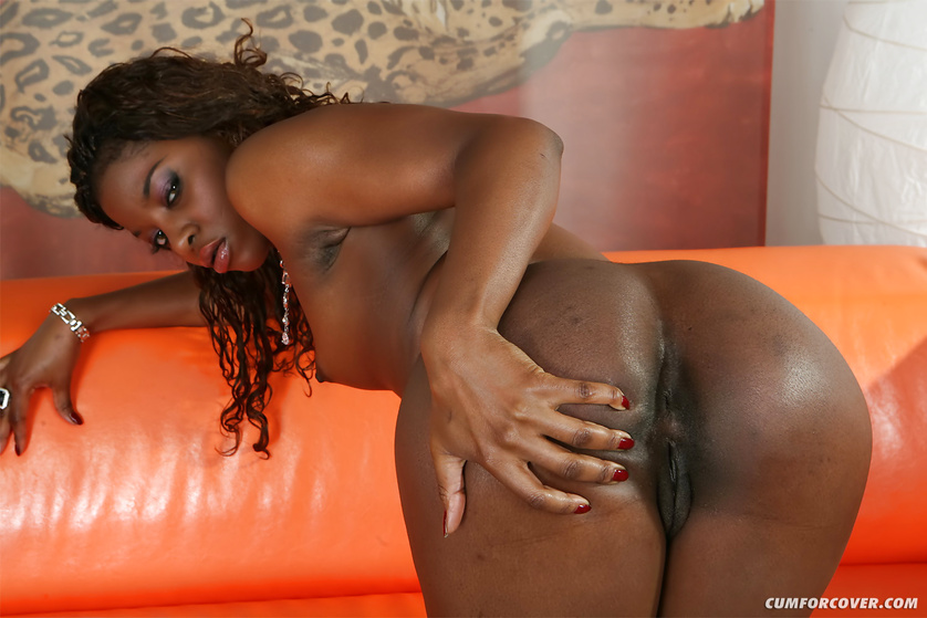 Ebony lady is deepthroating four white cocks
