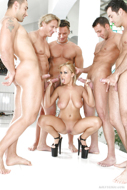 Wild oral adventures of lovely blonde and five big guys
