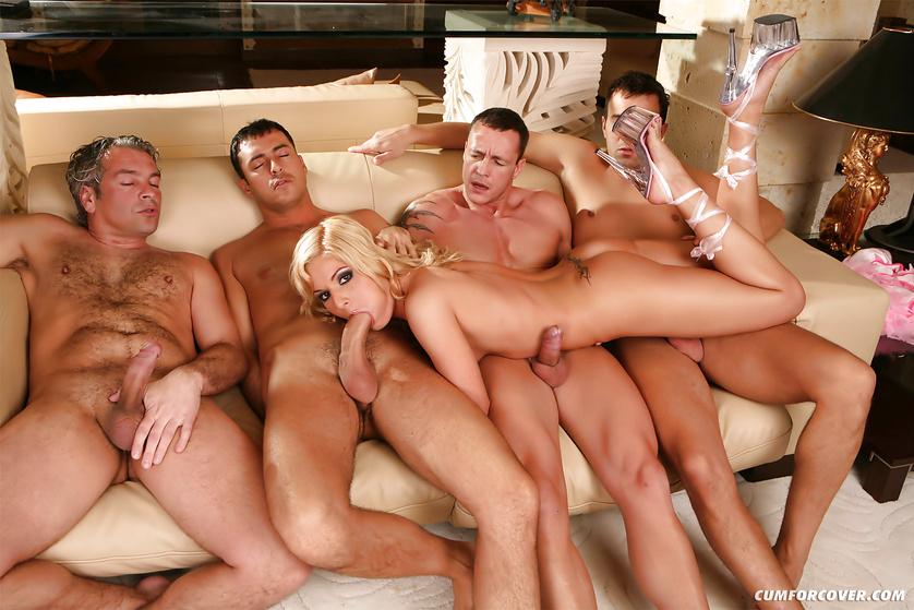 Tender slut is taking off her lingerie and sucking men's cock