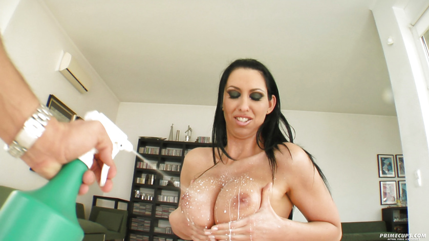 Fucking horny brunette's boobs and pussy