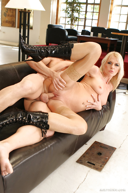 Striptease and cock riding lessons from lovely blonde MILF