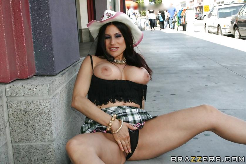 Stetson-wearing flashing addict brunette riding a massive cock