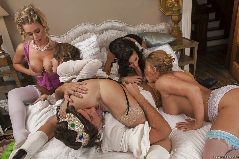 Old-timey hardcore orgy with several stacked bitches in corsets