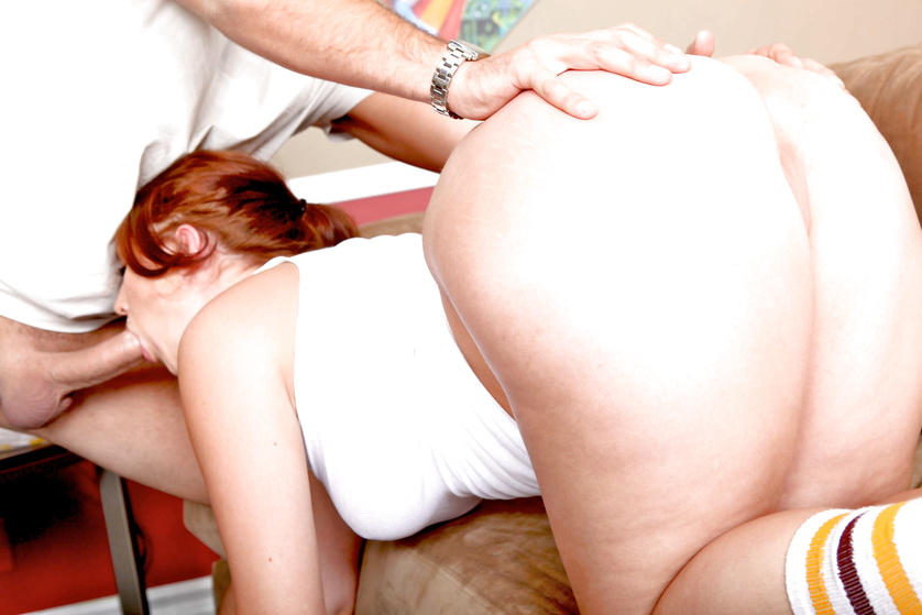 Redhead with really thick thighs does yoga and gets ass-blasted