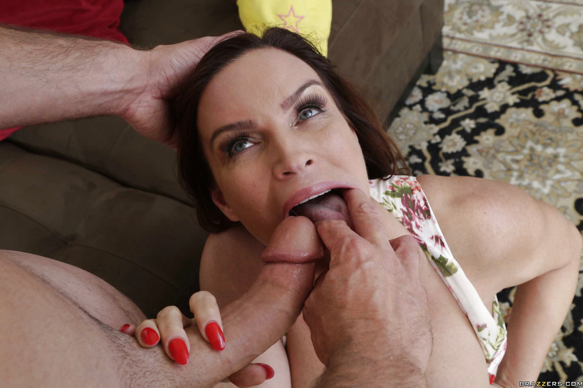 Ass-fucking a perfectly busty brunette MILF on a leash