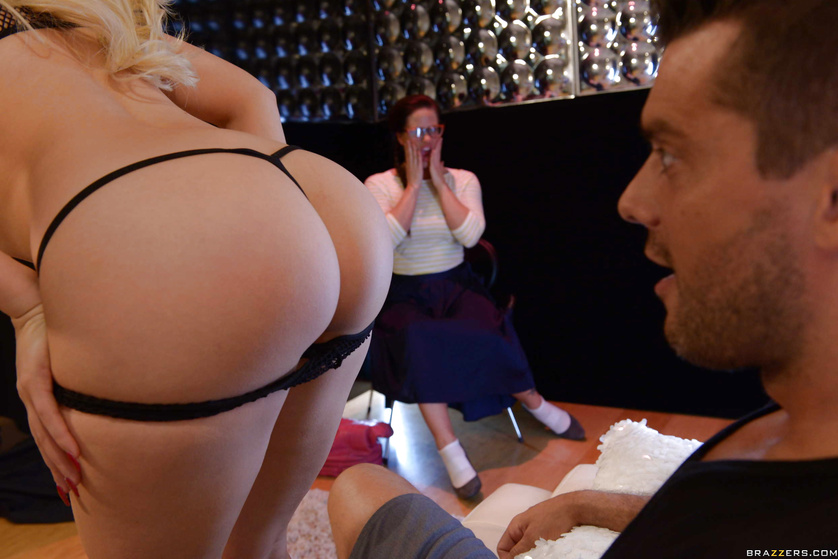 Curvy blonde seduces a guy in front of his shocked girlfriend