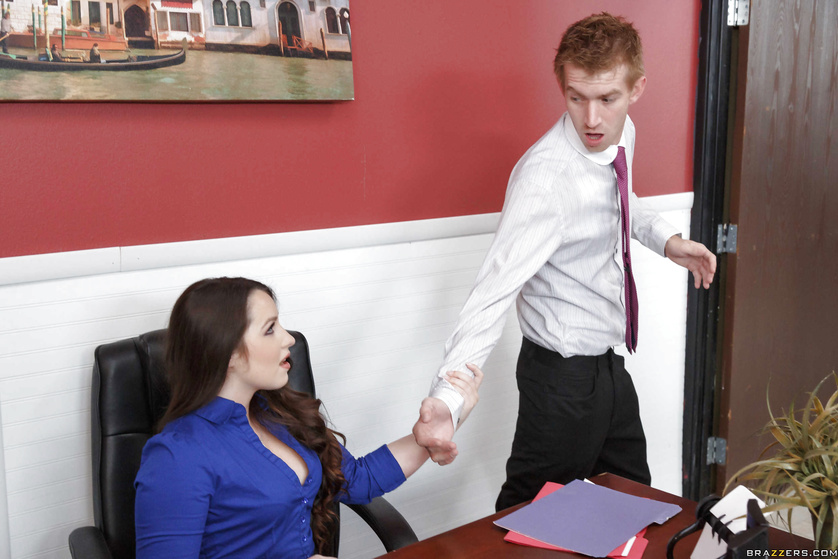 Masturbating secretary gets the real thing up her tight asshole