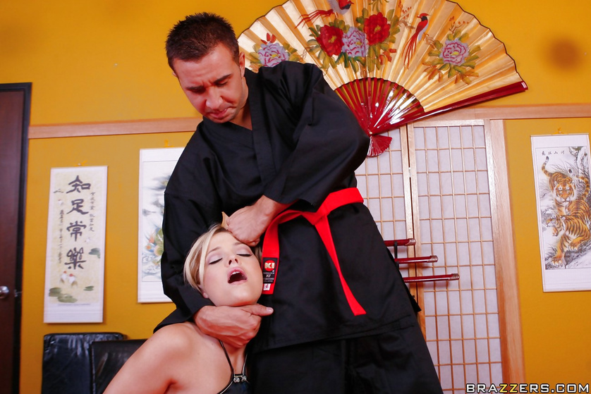 Blonde slut with big tits is enjoying sex with the kung-fu master