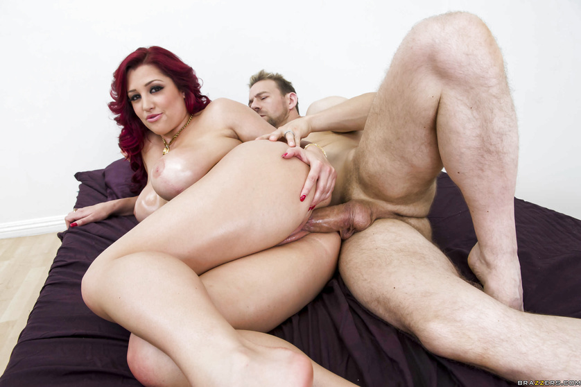 Slob gets to fuck a thick oiled-up redhead in red panties