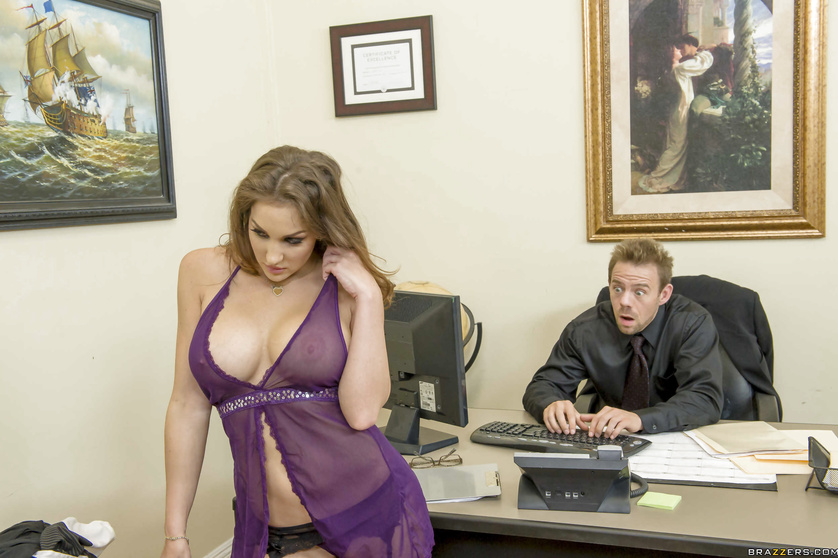 Kinky secretary Kiera King fucks two coworkers at the same time
