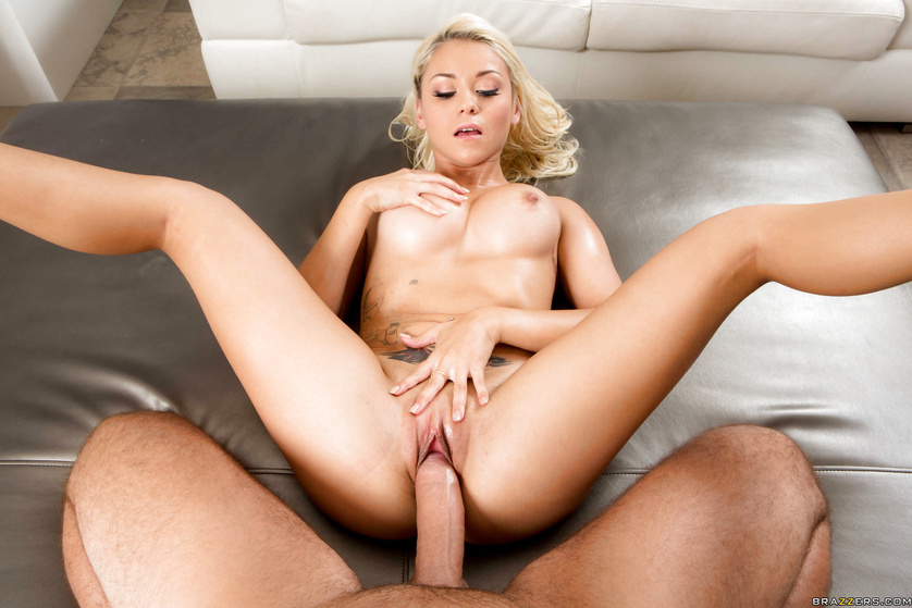 Oily minx Marsha May gets fucked from behind by an aggressive stud
