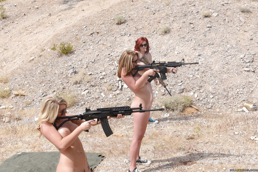 Gun-wielding stacked hotties ambush a guy and fuck him senseless