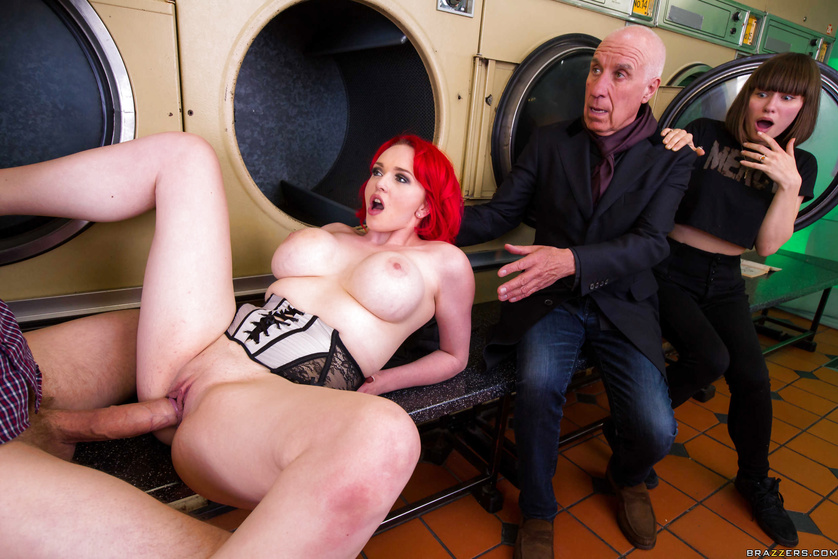 Redhead gets bored waiting for her laundry and gets fucked