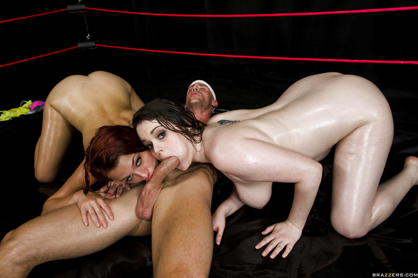 Powerful fighter is banging the brunette chick and the redhead slut