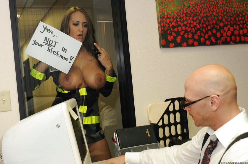 Bald business man is banging the gorgeous fire woman