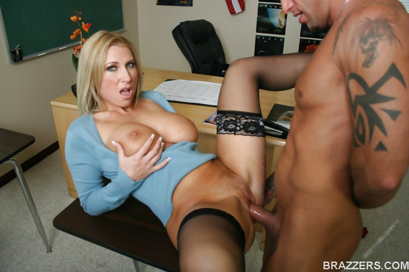 Massive tits blonde teacher enjoys brutal fucking in a classroom