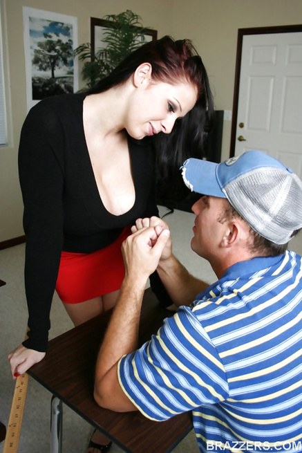 Red skirt redhead teacher subtly seducing her big-dicked student