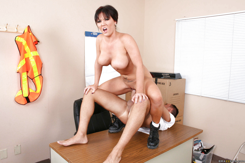 Watch the strong fireman banging this busty brunette wildly