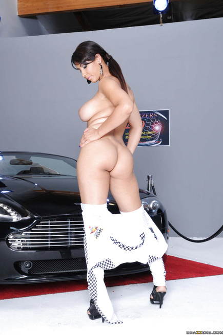 Luxurious woman with dark hair gets fucked next to the car