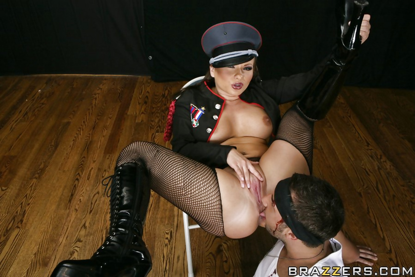 Strong army man is banging this hot pornstar wearing black clothes