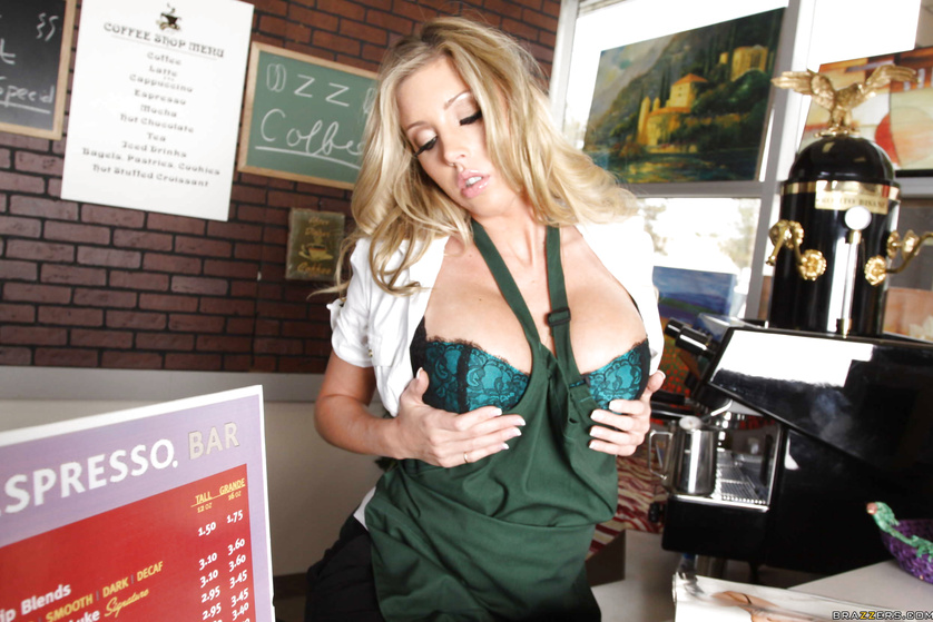 Lovely waitress in green uniform is showing her fuck skills