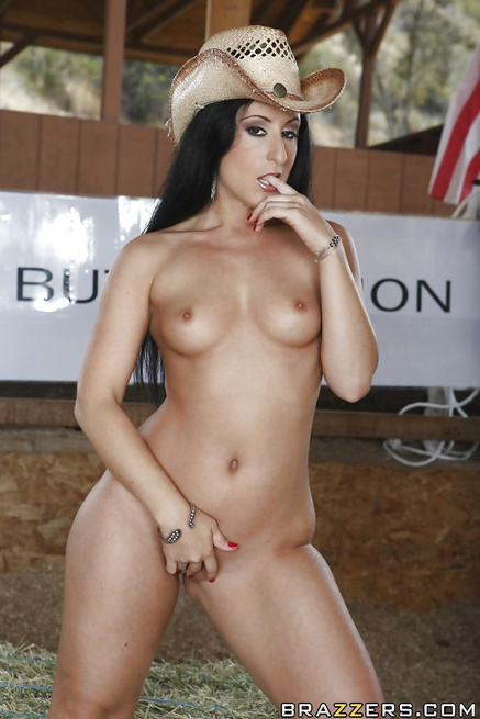 Muscular cowboy is banging two busty brunettes passionately