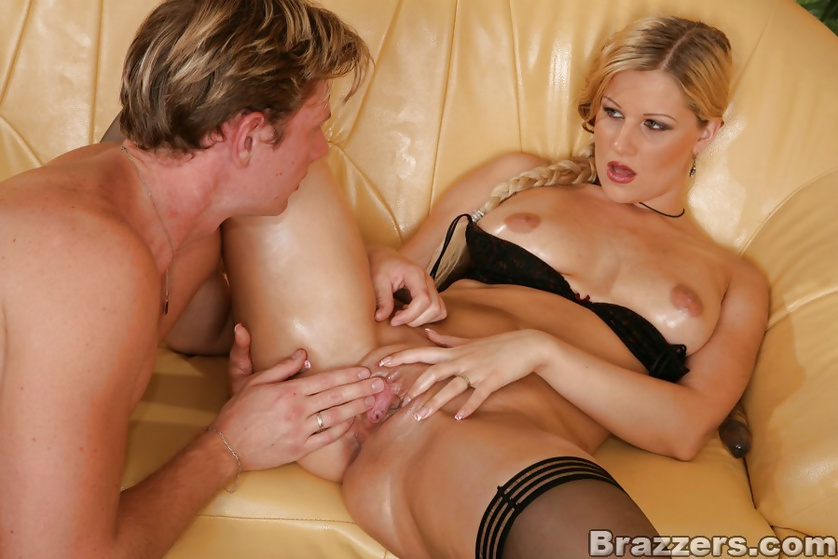 Wild punishing for the gorgeous blonde in black stockings