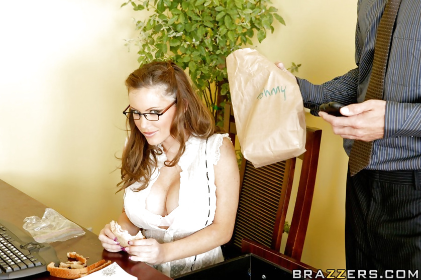 Glasses-wearing brunette gets banged before the company BBQ